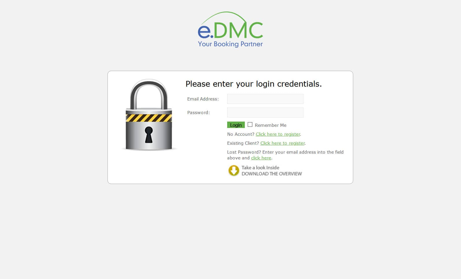 Travel Booking Platform Login Screen - e.DMC